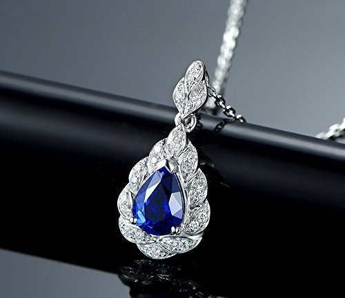 Solid 18k white gold Pendant,0.18ct SI-H Diamond pendant for necklace,1.15ct Pear Natural Blue Sapphire,Pave - 0.18 Diamond Si Ct