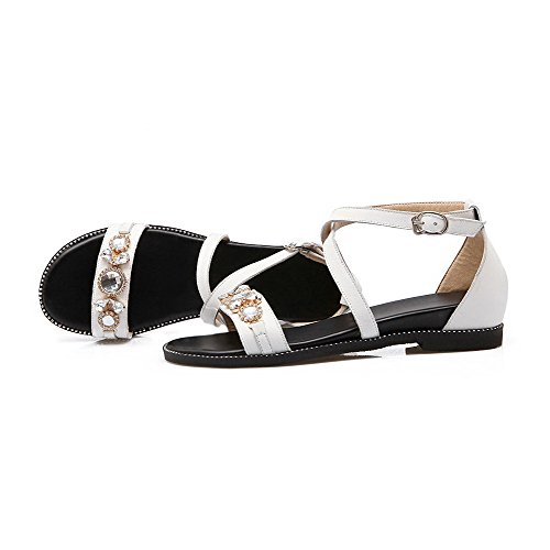 Amoonyfashion Womens Open-teen Gesp Pu Solid Lage Hakken Sandalen Wit