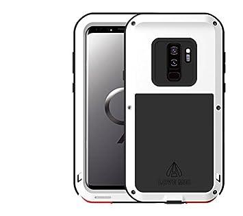 LOVE MEI Funda para Samsung Galaxy S9 Plus, Marca Armor Tank Aluminum Silicone Metal híbrido Carcasa,Cover, Funda para Samsung Galaxy S9 + (Blanco)