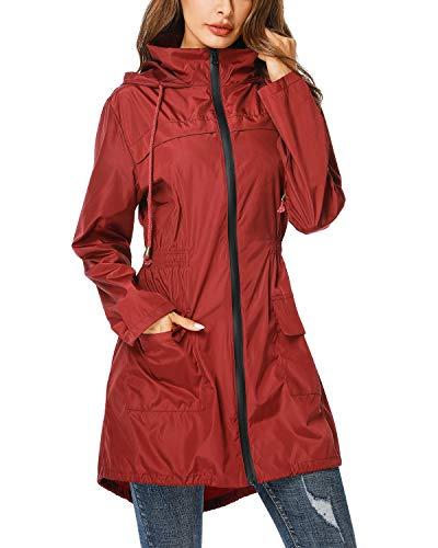 ZEGOLO Lightweight Hooded Waterproof Active Outdoor Rain Jacket Burgundy Medium