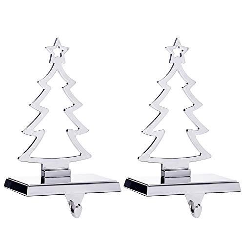 Klikel Christmas Tree Stocking Hanger for Mantel | Set of 2 | Silver Metal Stocking Holder with Hook