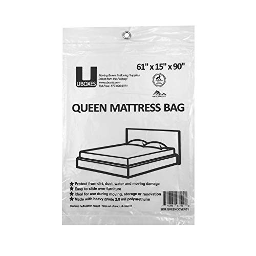 uBoxes Queen Mattress Poly Covers, 61 x 15 x 90 inch, Heavy Duty 2 mil, 1 Pack (QUEENCOVER01)