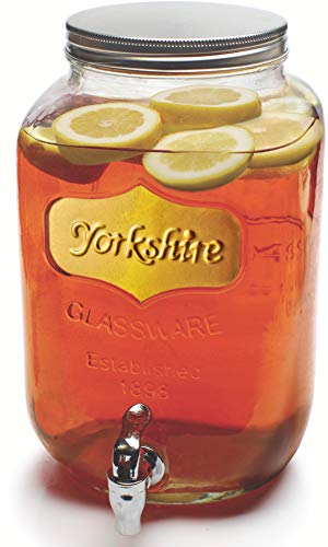 - Circleware Sun Tea Mason Jar Glass Beverage Dispenser with Lid, Fun Party Home Entertainment Glassware Water Pitcher for Juice, Beer, Punch, Iced Tea & Cold Drinks, Huge 2 Gallon, Gold Yorkshire