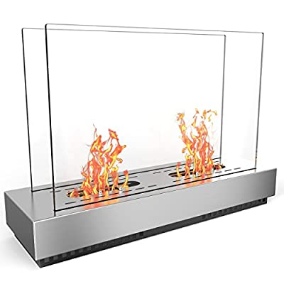 Regal Flame Stainless Steel Phoenix Ventless Free Standing Ethanol Fireplace Can Be Used as a Indoor, Outdoor, Gas Log Inserts, Vent Free, Electric, Outdoor Fireplaces & Fire Pits.