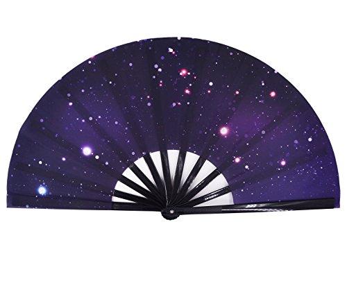 Amajiji Large Galaxy Folding Fan, Chinease/Japanese Folding Nylon-Cloth Hand Fan, Hand Folding Fans for Women/Men, Hand Fan Festival Gift Fan Craft Fan Folding Fan Dance Fan (AM3)