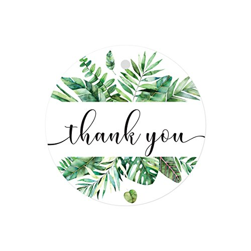 Andaz Press Tropical Bulk Round Circle Thank You Gift Tags, 2-inch, Alana Green Palm Leaves Wreath, 48-Pack Colored Birthday Baby Shower Wedding Party Decorations Stationary Supplies ()