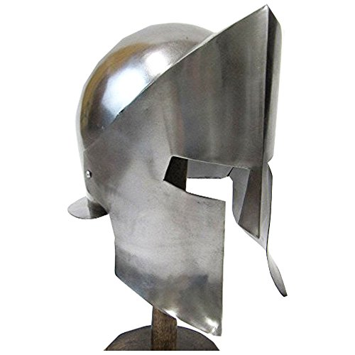 Ancient Greek Spartan Helmet w/ Chrome Finish Wearable Armour (Ancient Greek Costumes For Sale)