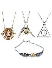 4 Piece Harry Potter Necklace Bracelet Set Time Turner Deathly Hallows  Golden Snitch for Harry Potter 636305d3521a