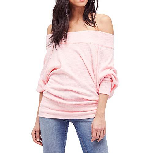 Shy Velvet Women's Off Shoulder Dolman Sleeve Baggy Pullover Sweater Slubbed Knit Jumper Pink