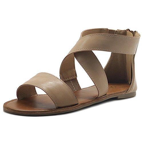Ollio Women's Shoes Zip up Gladiator Criss Cross Strap Flat Sandals MG00F44 (6 B(M) US, Natural)