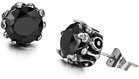 megko Cubic Zirconia Stud Earrings Fashion Women's Crystal Titanium Steel Stud Earring