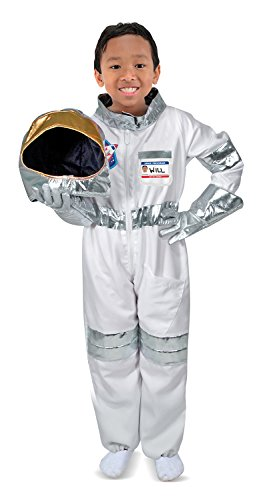 [Melissa & Doug Astronaut Role Play Costume Set (5 pcs) - Jumpsuit, Helmet, Gloves, Name Tag] (Halloween Costumes For 4 People)