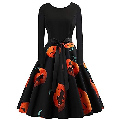 KCatsy Plus Size Pumpkin Print Halloween Dress -