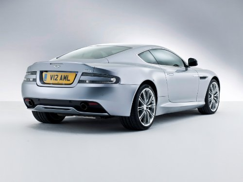 Db9 Martin Coupe Aston (Aston Martin DB9 Coupé (2012) Car Art Poster Print on 10 mil Archival Satin Paper Silver Rear Side Studio View 36