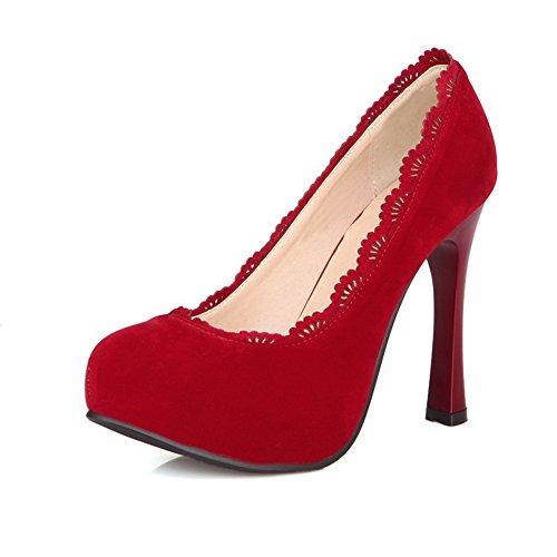 Alti Voguezone009 Tacchi Solide Smerigliate Pompe Pu Round Rosso Womens Toe rpqx6wIBp