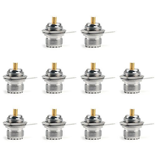 Areyourshop 10PCs Connector UHF Female SO239 Jack Bulkhead Solder Panel Mount Straight