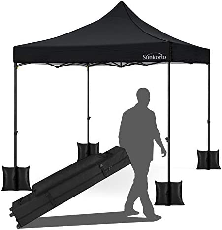 Sunkorto 10×10 Ft Pop up Canopy Tent with 4 Weight Sand Bags, UV Protection Instant Shelter with Wheeled Carry Bag for Party, Celebrations, Outdoor Sports or Commercial Activities, Black