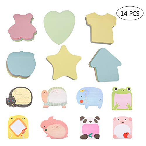 (14 Pack Sticky Notes 8 Pad Animals Self-Stick Removable Shaped Sticky Notes 20 Sheets per Pad and 6 Pad Sticky Notes Set Colorful Self-Stick Notes Pads in Different Shapes 100 Sheets per Pad)