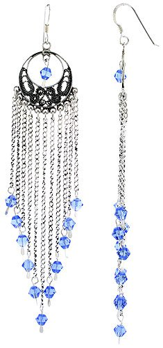 (Sterling Silver Dangle Chandelier Earrings w/ Blue Topaz-colored Crystals, 3 13/16