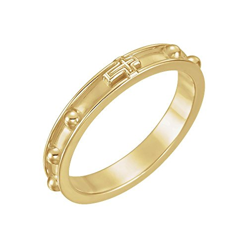 Yellow Gold Rosary Ring - 18k Yellow Gold Rosary Ring Size 9