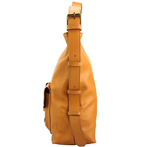 BOLSO HOBO TOTALLY AL HOMBRO HECHO EN CUERO GENUINO DE VACA 3118 Marron claro