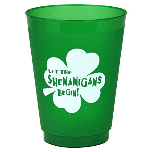 Smart Tart St Patrick's Day Party Cups - Let The Shenanigans Begin! - Frost-Flex Re-Usable Plastic Drinking Glasses - 16 oz - Set of -