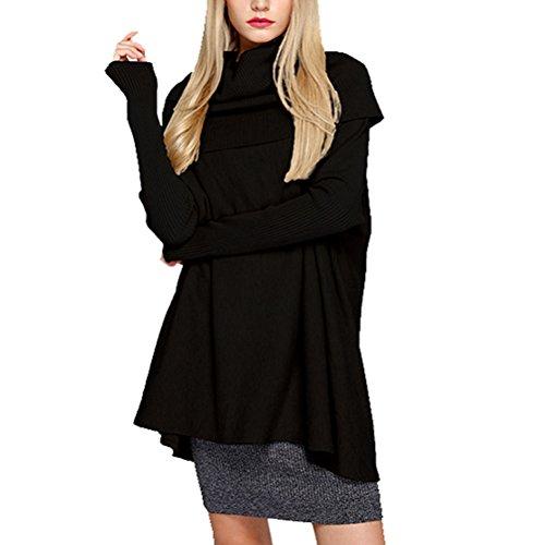 Manteau Sweatshirt Tricot Longues Cardigan Semen Pull Femme Loose Over Casual Noir Pull Manches vzqPYwOcz