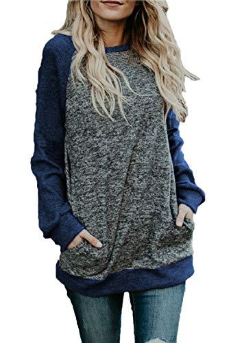 722d8173ce0 BLUETIME Women's Fall Loose Fitting Tunic Sweatshirt Long Tops for Leggings  (XL, Navy Blue