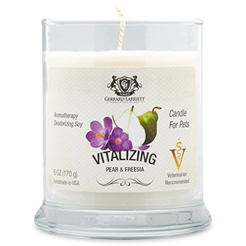Aromatherapy Deodorizing Soy Candle for Pets, Candles Scented, Pet Odor Eliminator & Animal Lover Gift (Vitalizing Pear & Freesia) by Gerrard Larriett Aromatherapy Pet Care