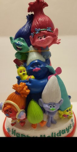 """Trolls Figurine Statue Happy Holiday Decorative Home Decor Item Measures 12"""" by 8"""" and Spins"""