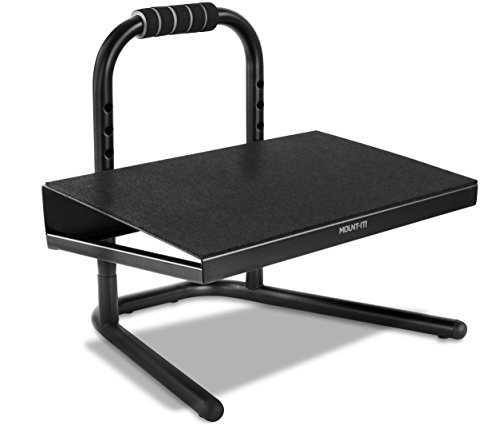 Mount-It! Height Adjustable Foot Rest for Standing and Sitting, Freestanding Under The Desk Footrest with Handle and Six Height Settings, Anti-Slip Padded Surface,Black by Mount-It!