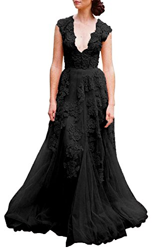 Ruolai Asa Bridal Women's Vintage Cap Sleeve Lace A Line Wedding Dresses Bridal Gowns Black 8 (Black Wedding Dress)