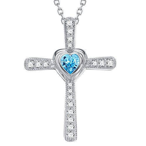 - March Birthstone Aquamarine Jewelry Sterling Silver Love Heart Necklace Birthday Gifts for Women Anniversary Mothers Day