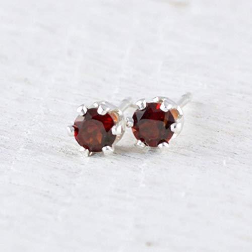 Post Earrings Garnet 3mm - Deep Red Garnet Sterling Silver Stud Earrings 3mm January Birthday