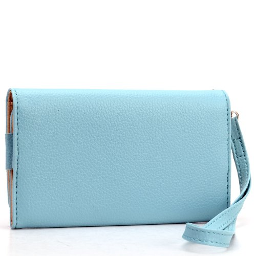 NuVur ™ 2-in-1 Case&Wallet w/Hand Strap SKYBLUE: Compatible w/Lenovo Vibe X2