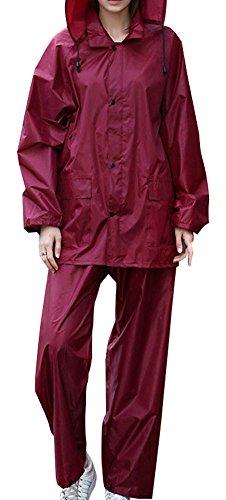 QZUnique Mens Lightweight Outdoor Ripstop Waterproof Packable Rain Jacket Pants Zipper Raincoat Set with Hood