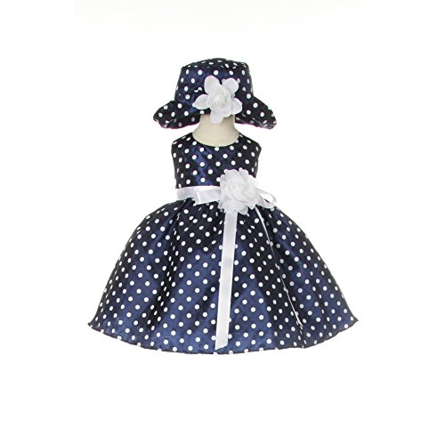 Cinderella Couture Baby Girls Pink White Polka Dot Belted: Blue And White Polka Dot Dress: Amazon.com
