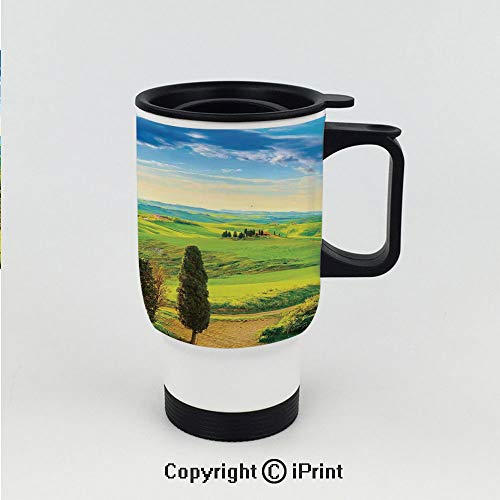 Stainless Steel Auto Car Mug,Rural Sunset in Italy Countryside with Trees Fresh Meadows and Clear Sky Image Print Decorative,Great for Home and Travel ()