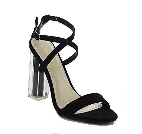 Jacobies Women's Crossed Strap With a Lucite Heel (7, Black Suede) (Heel 4' Strap High)