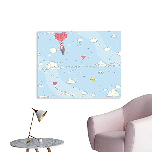 J Chief Sky Unicorn Party Canvas Painting Post Flying Horse with Heart Balloons Childish Cartoon Girly Design Decal Stickers W24 ()