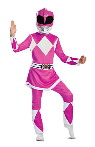 Disguise Pink Ranger Deluxe Child Costume, Pink, Large/(10-12)