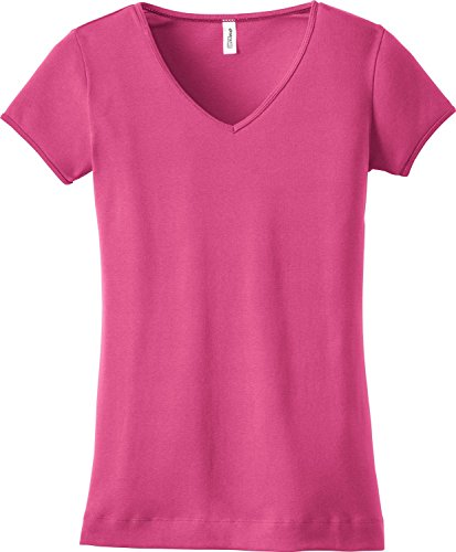 District - Ladies Junior Fit 1x1 Rib V-Neck T-Shirt - DT234V - Dark Fuchsia - L