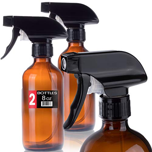 Empty Glass Spray Bottles - 2 Pack - 8 oz Refillable for Water, Essential Oils, Aromatherapy, or Organic Cleaning Products - Glass Spray Bottle. Holds Liquids. Brown