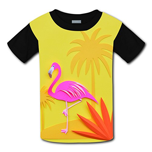 RODONO Unisex Kids Yello Flamingo Birthday Funny Round Collar Short Sleeve T- Shirt by RODONO