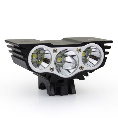 Getek SolarStorm-X3 3 x U2 XM-L LED Bicycle Bike Light Headlight+Charger+Battery Pack(2500ML Black)
