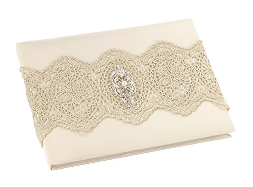 Lillian Rose Vintage Gold Lace Ivory Satin Wedding Guest (Lace Wedding Guest Book)