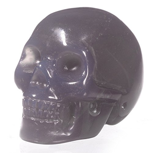 "Mineralbiz 1.5"" Natural Grey Agate Carved Crystal Skull, Human Skull Head, Skull Carving, Pocket Skull, Healing Reiki"