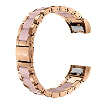 For Fitbit Charge 2 Bands / Fitbit Charge HR 2 Band, Wearlizer Charge Two Strap Replacement Stainless Steel Straps Accessories for Fitbit Charge HR Two Large Small, Rose Gold