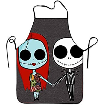 SHUANGRENDE Unisex Custom The Nightmare Before Christmas Aprons Waterproof Aprons With Adjustable Kitchen Cooking and Bib BBQ Apron