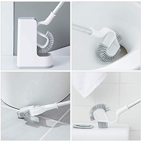 Hica Toilet Brush with Holder, Silicon Toilet Brush Set Deep Cleaning Bathroom Toilet Bowl Brush Cleaner Quickly Drying Curved Brush - Grey